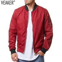 Men' s Slim Fit Bomber Jackets Solid Color Jacket Coat M...