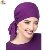Beanie Skull Caps Muslim Bamboo Cotton Pre-Tied Scarf Chemo Bonnet Women Turban Hat Headwear Headscarf Wrap Cancer Bandanas Hair Accessories