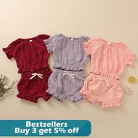 Summer Kids Casual Clothes Sets Toddler Baby Girls Boys Ruffle Solid Linen Top Shorts Outfits Set Clothing