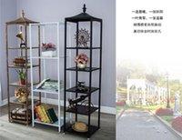 Hangers & Racks High-quality Tieyi Clothing Store Bale Rack, Floor Display Golden Retro Multi-storey Shoe Partition Rack