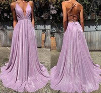 2022 Lavender Sequined Satin Prom Dresses Formal A-line Deep V-neck Sexy Criss Corss Open Back Party Evening Gowns With Pockets