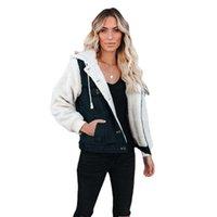 Women's Jackets Winter Fashion Warm Dress Fleece Heavy Denim Coat Patchwork Loose Hooded Jacket Baseball Jean