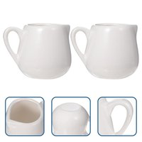 Spoons 4 Pcs Ceramic Creamer Jugs Sauce Storage Container Cups With Handle