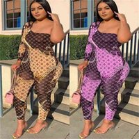 Letters Printed Womens Luxury Jumpsuit Summer Patchwork One Shoulder Off-The-Shoulder Siamese Trousers Fashion Leggings One-Piece Pants Clothes G69CG0E