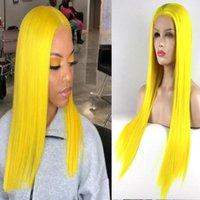 Perucas sintéticas Cabelos amarelos transparentes com linha de cabelo natural Macio longo reto para as mulheres