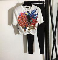 2021 menina terno starfish shell cintura curta cintura curta cintura curta e umbigo t-shirt de manga curta impresso estiramento fino leggings preto cinza preto 428