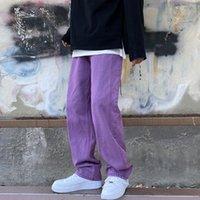 Japanese Men Jeans Fashion Purple Green Loose Straight Vintage Casual Streetwear Skateboard Dance Denim Cargo Baggy Pants