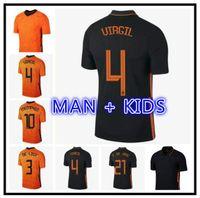 Wijnaldum Promes Jerseys de futebol 21 22 Memphis de Jong de Ligt Strotman Camisa de futebol Van Dijk Virgil Men + Kids Kit