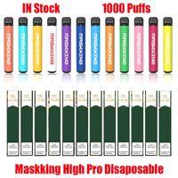 Masking Yüksek Pro Disaposable Pods Cihazı Kiti E-Sigaralar 1000 Puffs 600 mAh Pil 3.5 ml Prefice Kartuş Pod Vape Sopa Kalem VS MK GT Plus Max Kitleri