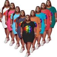 L-5XL RIANBOW LIPS Patrón Vestidos de verano Mujeres Homewear Ropa Colores sólidos Cuello redondo Cuello corto Manga Camiseta Vestido G47vpae