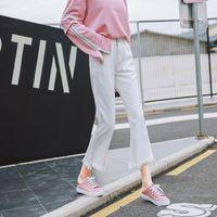 Jeans súper versátil delgado de la cintura alta de la cintura de mezclilla de mezclilla para las mujeres coreano en blanco y negro suelta pierna ancha sin resorte capris
