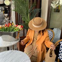 Wide Brim Hats Summer Hand Woven Sunshade Breathable Flat Top Hat Women's Sunscreen Beach Sun Straw