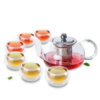 1x 7in1 Kung Fu Café Set-625ml Potenciômetro de chá de flor de vidro baixo curto com filtro infusor de aço inoxidável + 6 * Copo de camada de parede dupla