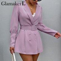 Glamaker Sexy con scollo a V Glack Ufficio Ladies Blazer Elegante Autumn Bodycon Sottile Cappotto Giacca Party Club Slim Nolining Chic Blazer1