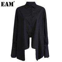 [EAM] Frauen Weiß Unregelmäßige übergroße Bluse Revers Langarm Lose Fit Hemd Mode Gezeiten Frühling Herbst 2021 1DD2097 Frauen Blusen Shi