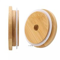 Bamboo Cap Lids 70mm 88mm Reusable Wooden Mason Jar Lid with Straw Hole and Silicone Seal NHA8717