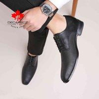 Decarsdz adam ayakkabı yeni iş ofis tarzı rahat moda ayakkabı erkekler rahat klasik marka tasarımcı lüks deri erkek ayakkabı 210330