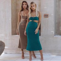 Casual Dresses Woman Dress Fashion Sexy Halter Hollow Out Backless Elegant Wedding Party Office Lady For Summer Women 2021