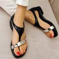 Sandals Low Flat Gladiator Women Leather T-Strap Rome Cover Heel Buckle Strap Concise Mixed Colors Bohemian Shoes