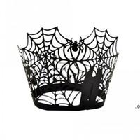 Spiderweb الليزر قطع ورقة كعكة مغلفة كب كيك حالات الخبز كأس حالة الزفاف عيد حزب ديكور EWB8856