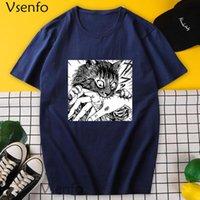 Men's T-Shirts Men Tshirt Funny Junji Ito Cat Graphic Tee Shirt Harajuku Cotton Oversize Anime T-shirt Manga Short Sleeve T Shirts Male Clot