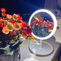 Compact Mirrors Portable Led Light Makeup Mirror Chargeable Adjustable TableDesk Storage Cosmetic Touch Dimmer Vanity Magnifying