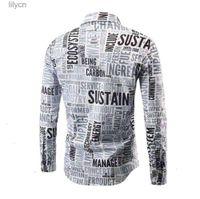 mens designer dress shirts Fashion High Quality Casual Originality Printed Long Sleeve Autumn Shirt