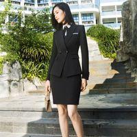 اثنين من قطعة اللباس izicfly ربيع الخريف السيدات الدعاوى مجموعة رسمية تنورة والارزال موحدة أنيقة الأعمال 2 المرأة مكتب العمل ارتداء الأسود