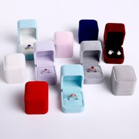 Fashion Square Velvet Jewelry Box Ring Holder Gift Packaging Marriage Storage Organizer Casket Earring Display Stand Wedding Wholesale