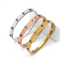 Bangle Friendship Bracelet Cubic Zirconia Stones Stainless Steel Jewelry With Crystal Oval Birthday For Women Girls