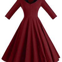 Vestidos casuais gowntown womens 1950s capa gola vintage balanço stretchy gj5z
