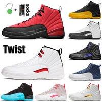 Nike Air Jordan Retro 12 أعلى جودة الأسهم jingman x 12 رجل إمرأة 12 ثانية أحذية كرة السلة الرجعية جامعة الذهب الأنفلونزا لعبة الحجر الملكي الأزرق رياضة المدربين حجم 13