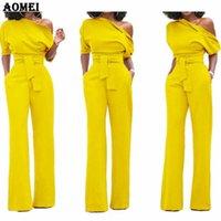 Tuta da donna Una spalla con tasche a fianchi Office Discerm Pomper Combinaison Femminile Femminile Tute per Abbigliamento Elegante Lady Y19060501
