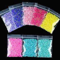 1000 pz Cristalli per unghie AB colorato strass perline rotonde perline flatback pietre resin per la decorazione manicure 5mm 15 colori strass art decorat