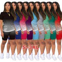 Tasarımcı Giysi Degrade Eşofman İki Kıyafetler Koşu Takım Elbise Bayanlar Rahat Şort Pantolon 2 Parça Artı Boyutu Kadın Giyim 836-1