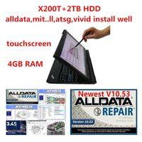 high performance x200t laptop with Alldata car repair Soft-ware All data 10.53 mit vivid workshop atsg in 2TB HDD 4g