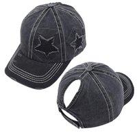 최신 8 색 5 포인트 스타 포니 테일 야구 모자 찢어진 구멍 코튼 트럭 모자 모자 캡슐 야외 거리 썬 스크린 조류 모자 LLA456