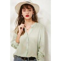 Women's Blouses & Shirts Green Real Silk Chiffon Shirt 100% Mulberry Women Long Sleeve V-neck Blouse M L XL