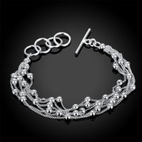 Charm Bracelets 925 Sliver Fashion Jewelry Multiple-thread Smooth Beads Bracelet For Female Beautiful Daily Party Accessories