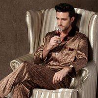 Мужские дизайнерские тонкие шелковые шелковые пижамы для мужчин Ночная одежда с длинным рукавом сон топы брюки