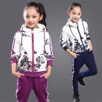 Clothing Set Girls Clothes Jacket Floral Zipper Kids Hoodies Pants Kids Tracksuit For Girls Clothing Sets Sport Suit Spring 211021