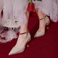 Luxury Dress Shoes Bridal Sho 2021 Wedding Sho Summer Xiuhe Two Wear Main Wedding Drs High Heel's Thin Heel Button