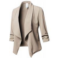 Mujer Abrigo abierto Fabala Fashion Top Jacket Ruffle Formal Solid Otoño Manga larga Trajes de mujer Blazers