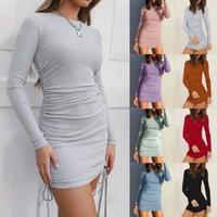 Vestido ajustado de las mujeres de color sólido con cordón lateral sexy cadera encaja funda de manga larga fiesta de playa Mini Sundress verano
