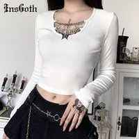 Insgoth Maglia a maniche lunghe Crop Top Gothic Punk Bodycon Butterfly Pendant Donne T-shirt Lady Black Black Black Bianco Top T-shirt da donna