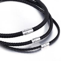 yutong Mens Choker Necklace Brown Black Color Braided Cord Rope Man Made Leather Necklace for Men Stainless Steel Clasp 4 6 8mm LUNM09