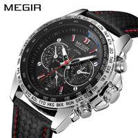 Megir Sport Mens Orologi Top Brand Luxury Quartz Uomo Guarda Moda Casual Black PU Strap Cinturino Orologio Uomo Grande quadrante ERKEK Saat 1010 H1012