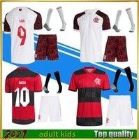 2021 Flamengo Soccer Jersey Set Home and Away 9 # Gabi 14 # de Arrascaeta Kits Esportivos 21/22 Futebol Flamenco CR Camiseta Fútbol Kid Kids Kit + meia