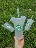 DHL Starbucks 16oz / 473ml 24oz bicchiere di plastica riutilizzabile trasparente, tazza di fondo piatta, coperchio a forma di pilastro tazza di paglia Bardian, 50pcs trasporto
