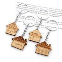 منزل مفتاح سلسلة الخشب المفاتيح housewarming حزب اللوازم هدية محفورة مفاتيح الدائري الأول الاحترار تفضل تعزيز الهدايا GWB8916